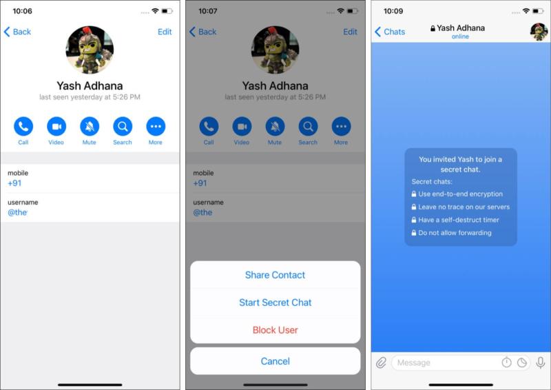 Use encrypted Secret Chat on Telegram