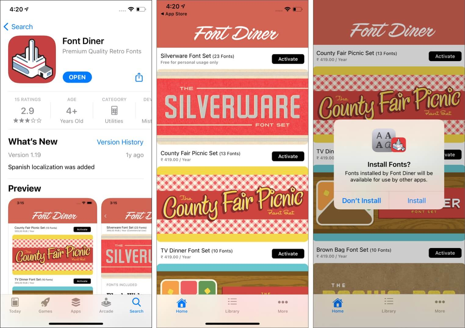 Use Font Diner on iPhone to Install Custom Fonts