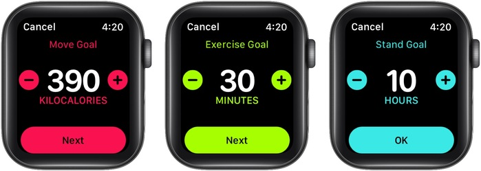 Use plus or minus buttons to change Move Goal