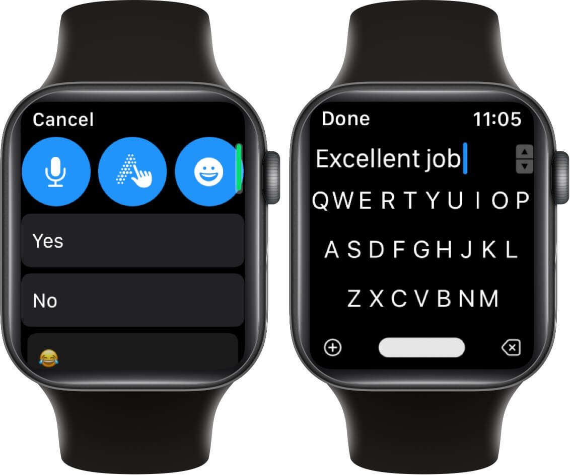 use qwerty keyboard or voice dictation to reply whatsapp messages on apple watch