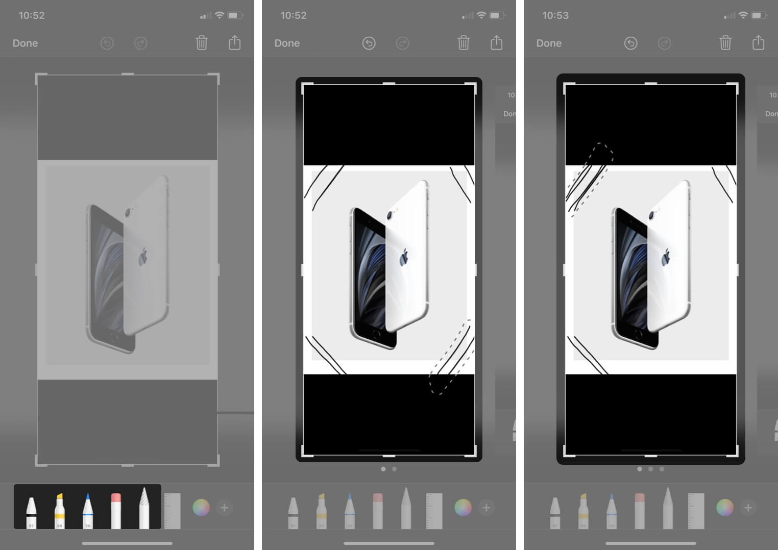 use sketch markup tool in screenshot on iphone