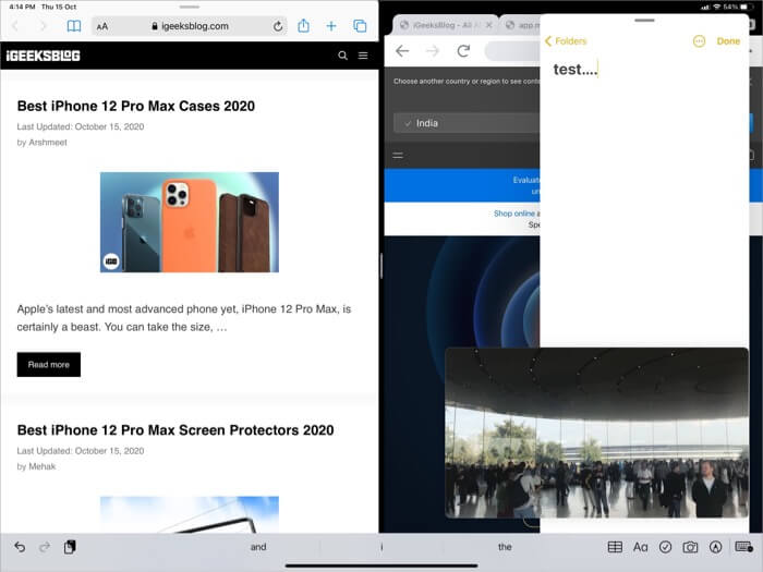 Use Split View Slide Over and Picture in Picture at Same Time on iPad