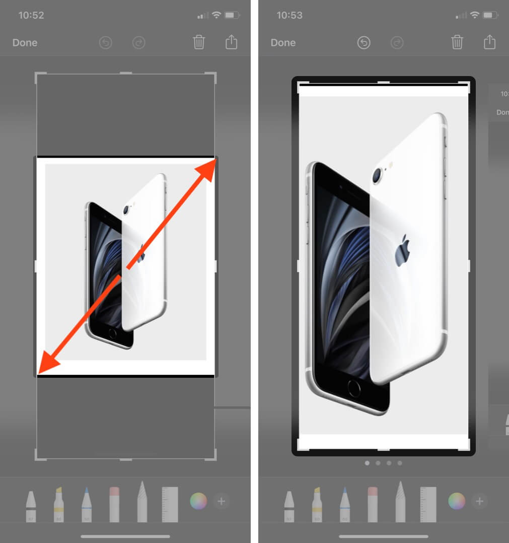 use zoom-in or zoom-out feature in screeshot on iphone
