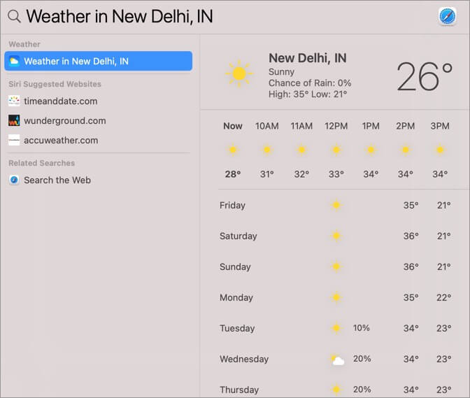 Using Spotlight to Search and Know Weather on Mac