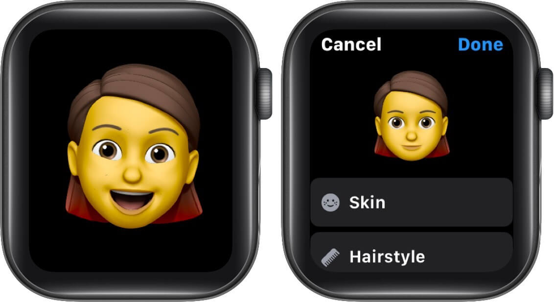 view expressions and tap on done to create memoji on apple watch in watchos 7
