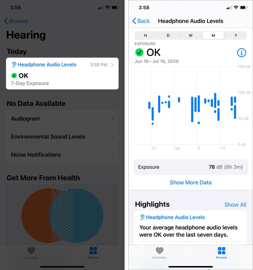 view history of audio levels on iphone