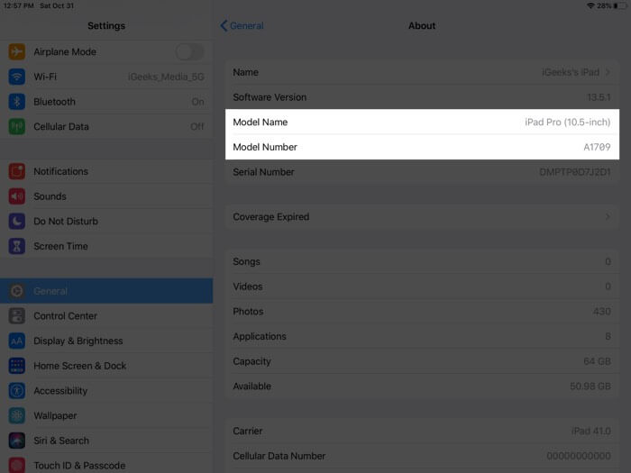 View Model Name and Number on iPad