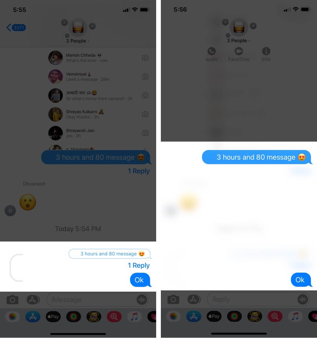 view thread chat in messages app on iphone running ios 14