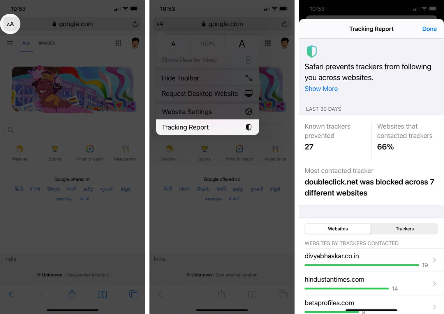 view tracking report in safari on iphone running ios 14