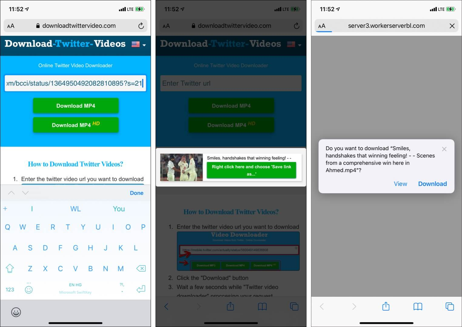 Visit DownloadTwitterVideo paste link and tap Download MP4