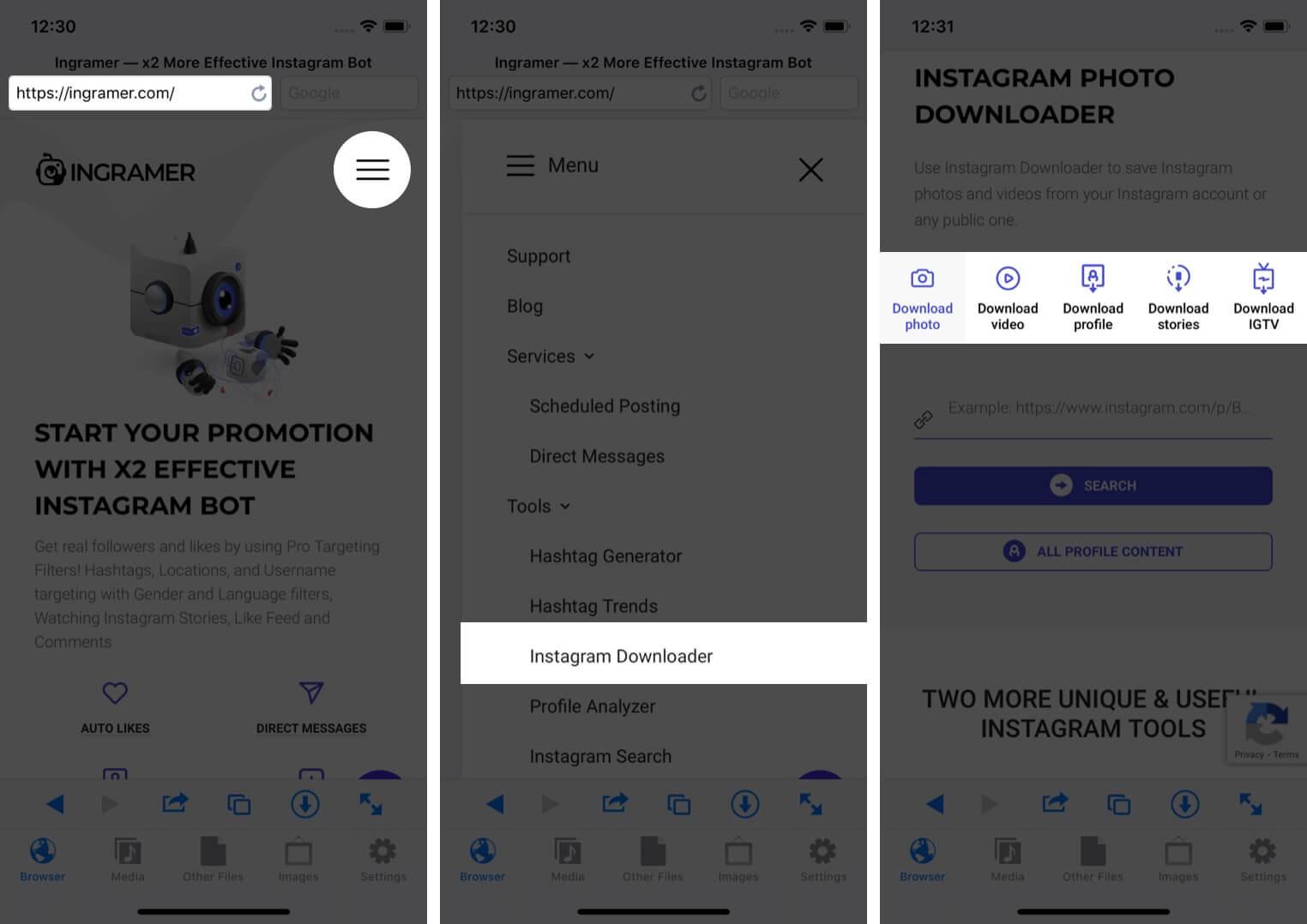 visit ingramer in safari tap on hamburger icon select instagram downloader and tap on preferred option