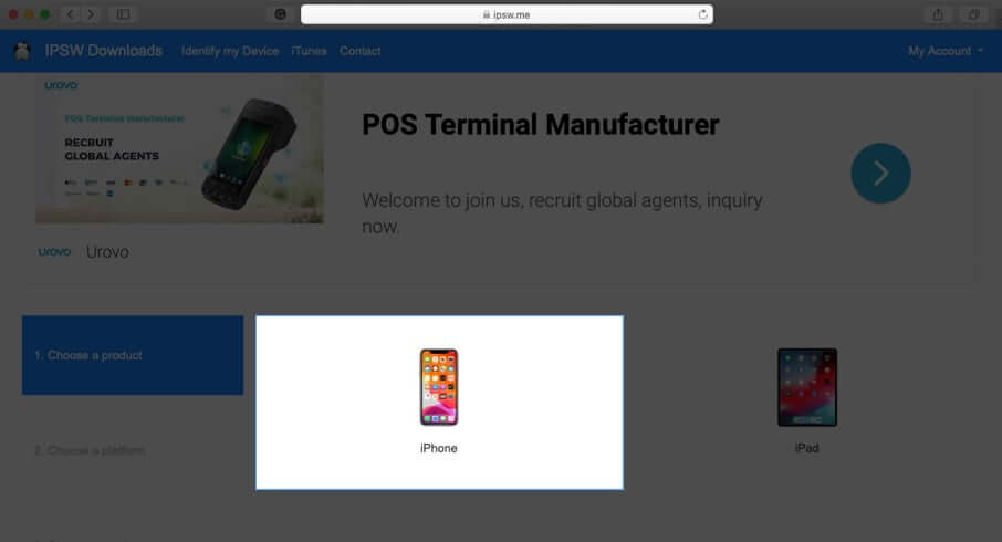 visit ipsw downloads website and select device on mac