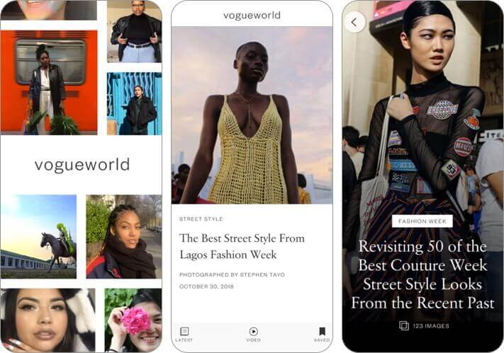 vogue world iphone and ipad fashion app screenshot