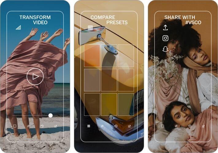 vsco photo and video editor iphone and ipad app screenshot