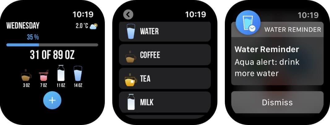 water reminder apple watch app screenshot