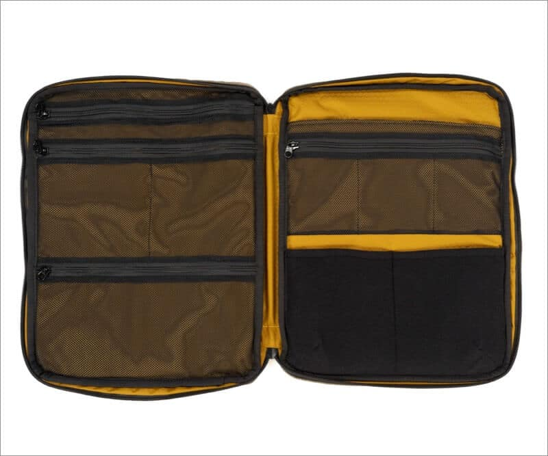 waterfield tech folio bag opens flat and easy to pack
