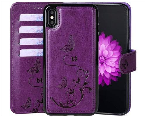 waterfox iphone xr wallet leather case