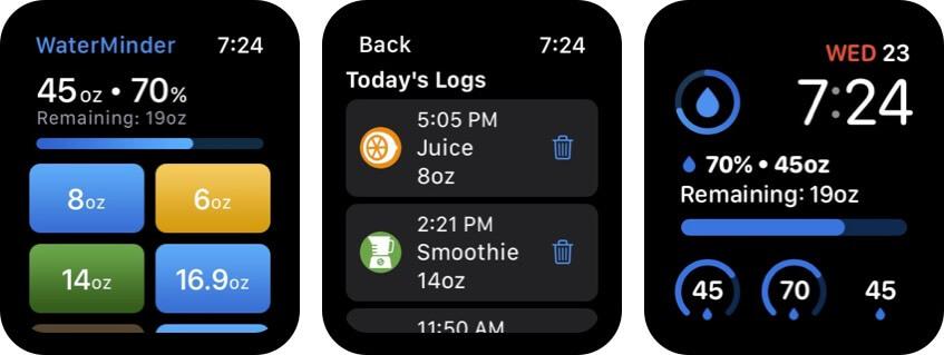 waterminder apple watch health app screenshot