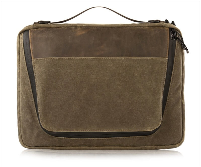 waxed canvas material used for waterfield tech folio bag