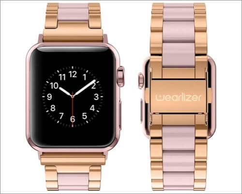 Wearlizer Metal Clasp Strap for Apple Watch Series 6, SE, 5, 4, and 3