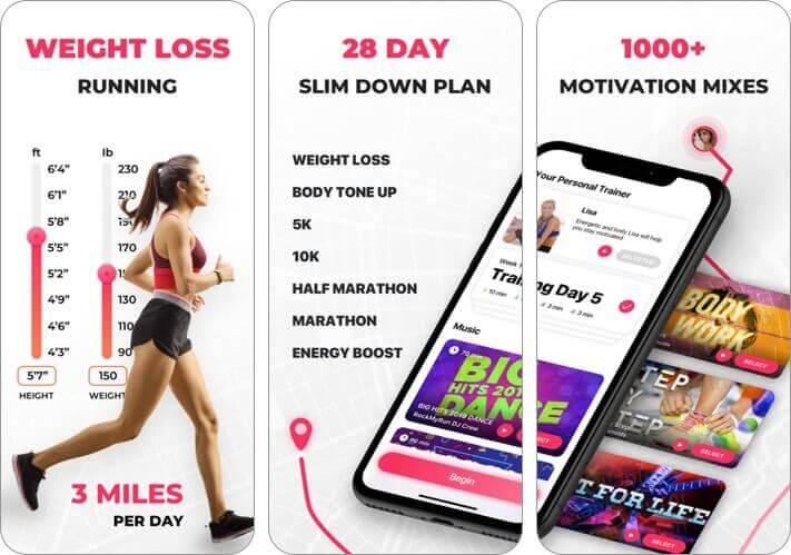 weight loss running iphone and ipad app screenshot