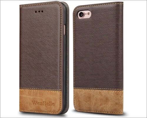wenbelle iphone se 2020 leather folio cover