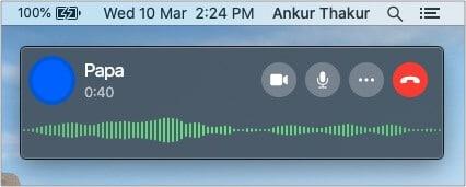 WhatsApp call controls on Mac