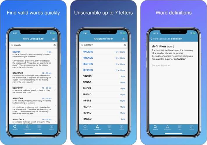 Word Lookup Lite Dictionary iPhone and iPad app Screenshot
