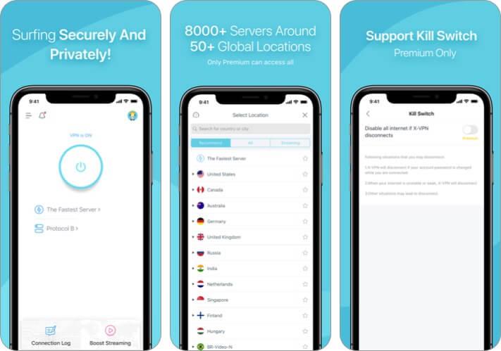x vpn iphone and ipad app screenshot