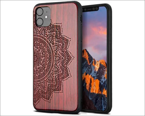 yfwood patterned wooden case for iphone 11
