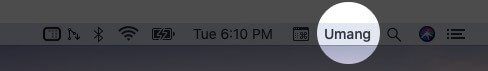 Your Name Will be Added to Mac Menu Bar