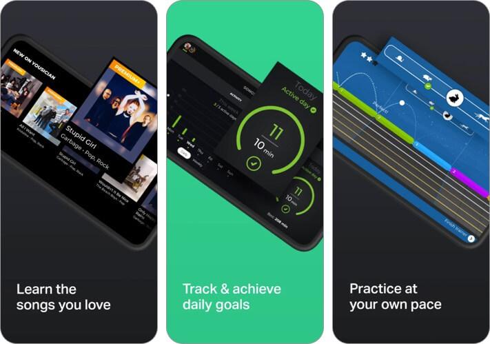 скриншот музыкального приложения yousician для iphone и ipad