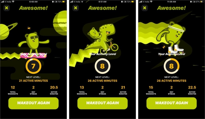 Activity levels with animations in Wakeout iPhone app