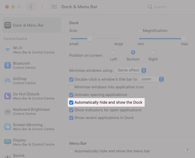 Автоматически скрывать док-станцию на iMac