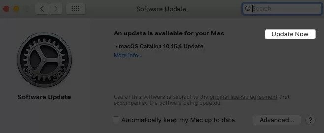 Klicken Sie auf Jetzt aktualisieren, um macOS zu aktualisieren