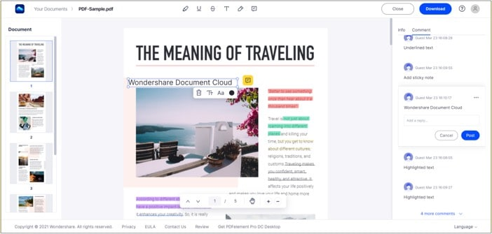 Collaborative annotation tool in Wondershare Document Cloud