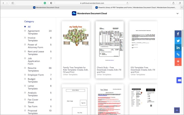 Create and save customize templates in Wondershare Document Cloud