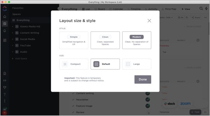 Customization galore in ClickUp iPhone app