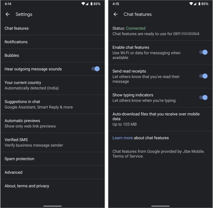 Отключить RCS на устройстве Android