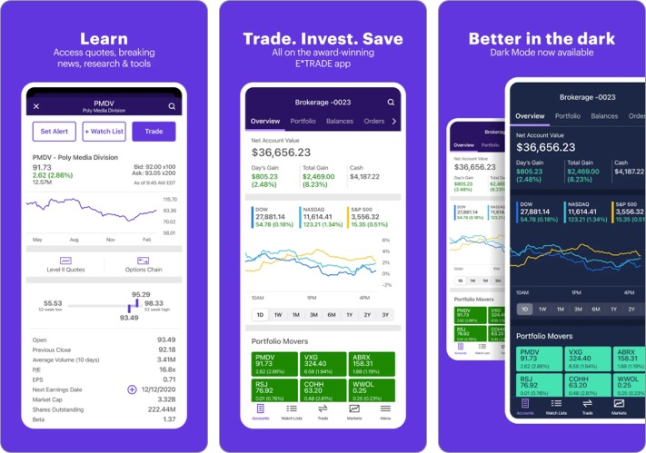 E trade best stock trading app for iPhone