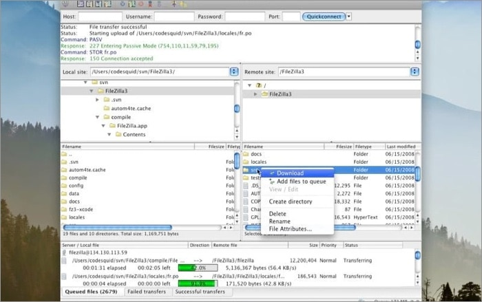 Filezilla FTP Client for Mac