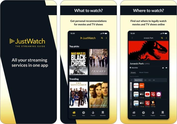 JustWatch iPhone App zum Verfolgen von Filmen und TV-Shows