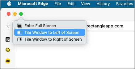 Pin the window to the left or the right side in macOS Big Sur