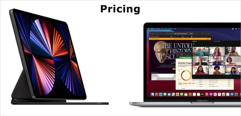 Pricing - M1 iPad Pro vs. M1 MacBook Pro