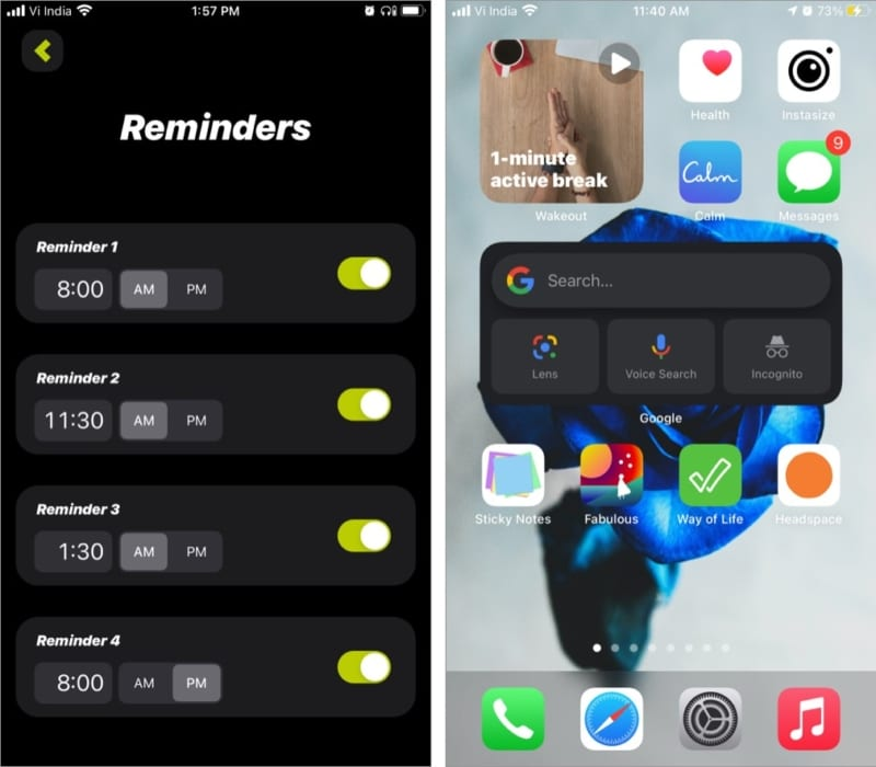 Reminders feature in Wakeout iOS app