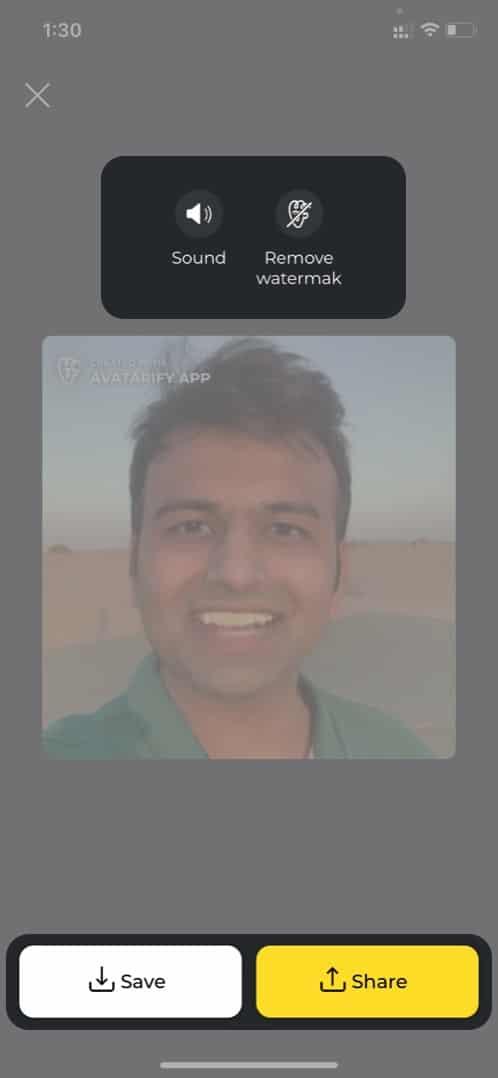 Speichern und teilen Sie erstellte Videos auf Avatarify vom iPhone