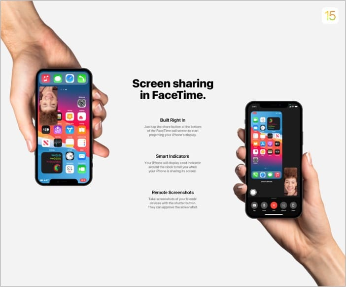 Screen sharing in Facetime with iOS 15