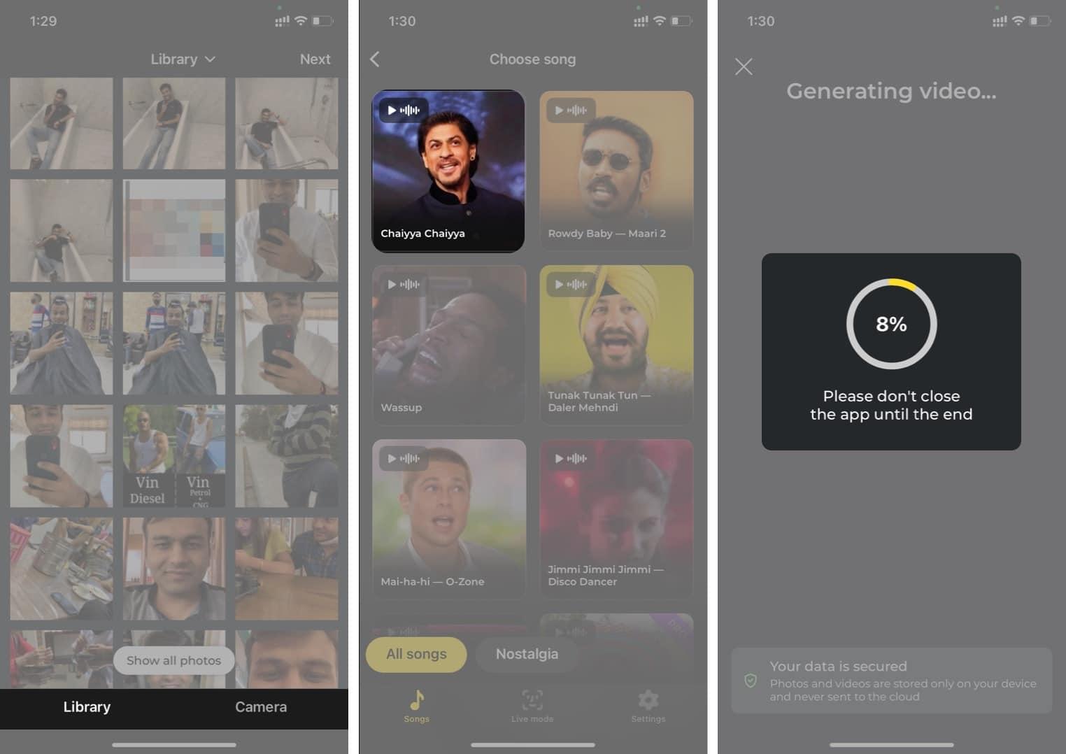 Wählen Sie ein Bild aus Librarfy und ein Lied aus der Avatarify iPhone App