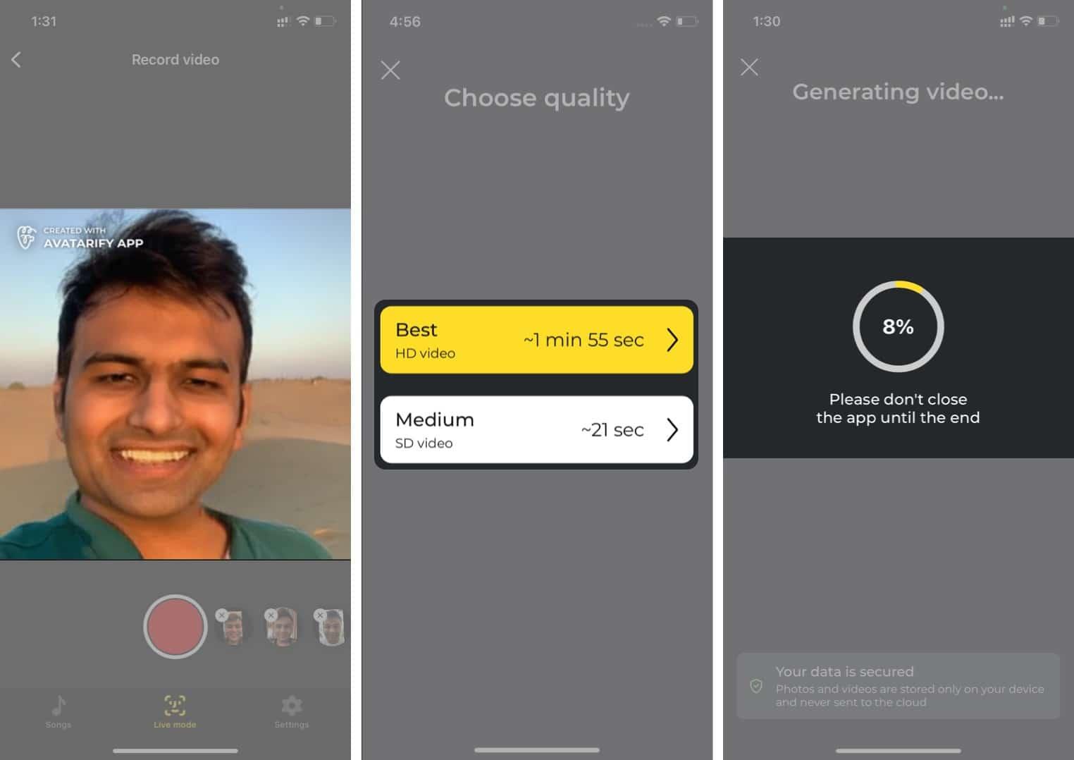 Wählen Sie die Videoqualität und speichern Sie das Video auf dem iPhone