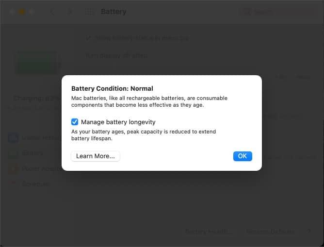Präsentation des Batteriezustands auf dem Mac
